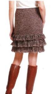 простая юбка спицами с воланами из бахромы фото