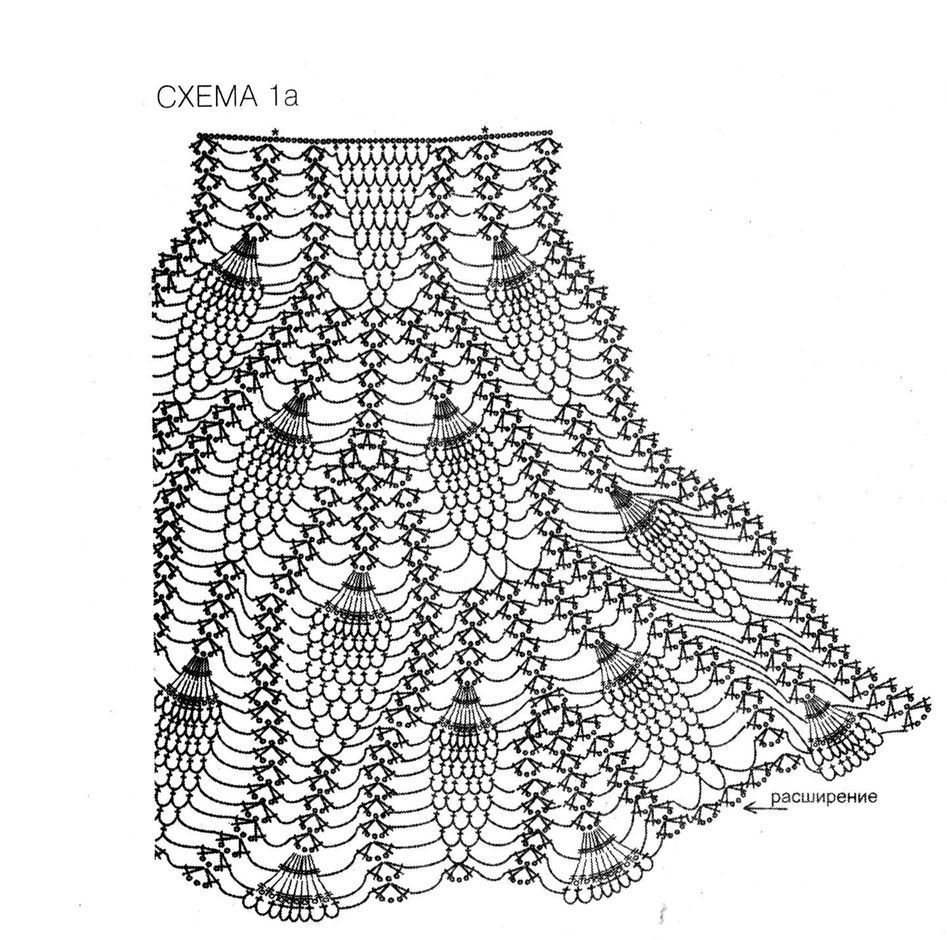 Вязание крючком юбки схемы ананас