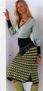 теплая прямая вязаная юбка крючком