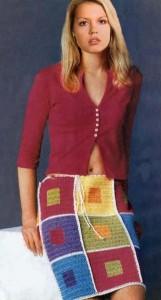 Вязаная юбка крючком из квадратов