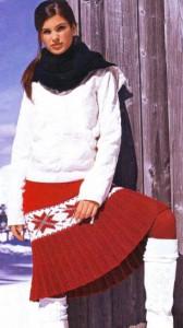вязаная юбка плиссе спицами с норвежским узором