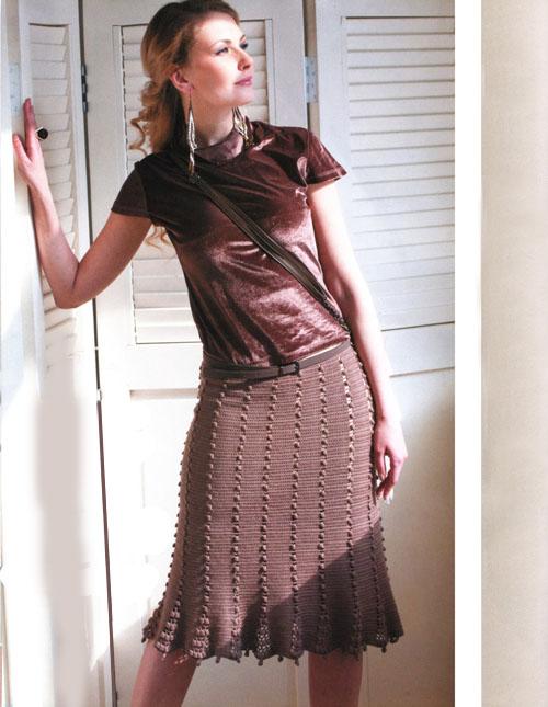 Бежевая вязаная юбка годе с