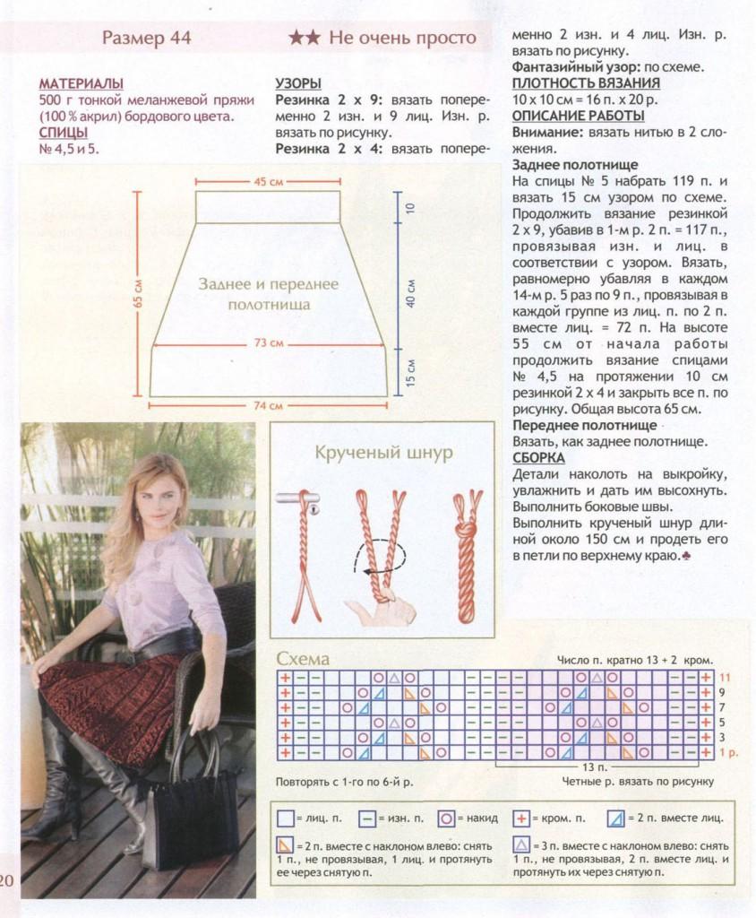 вязание юбки миди спицами в резинку, описание и схема