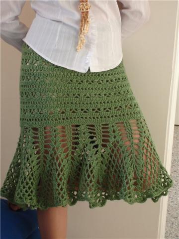 ажурная вязаная юбка годе крючком
