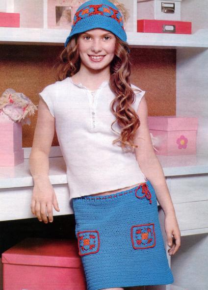 вязаная юбка крючком и шляпка на девочку 14 лет