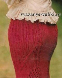 фото красная вязаная юбка годе спицами