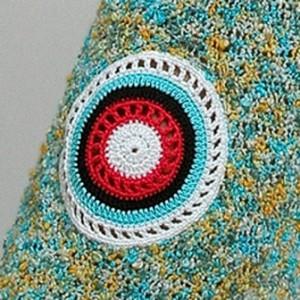 круглый элемент крючком для вязаной юбки колокольчика