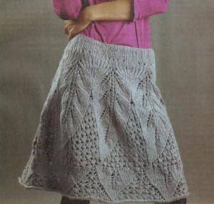 """юбка спицами с ажурным узором """"листья"""" фото"""