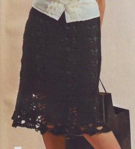черная ажурная вязаная юбка крючком со схемами вязания