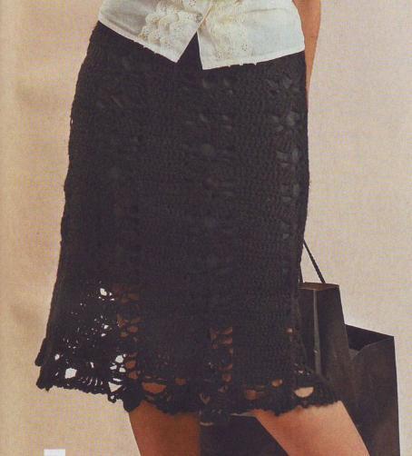 черная ажурная вязаная юбка