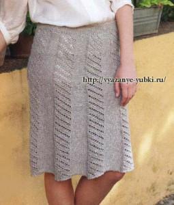 летняя вязан юбка спицами