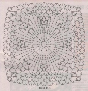 Схема вязания мотива для короткой ажурной юбки крючком.