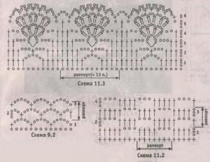 схемы вязания к черной ажурной мини юбке крючком.
