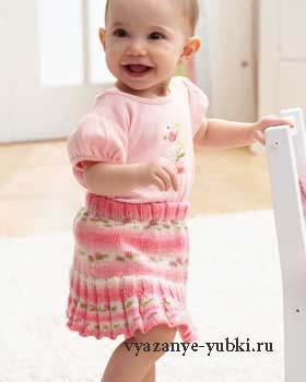 вязаная юбка спицами для малышки на 3-6 месяцев, 1 год и 1,5 года фото