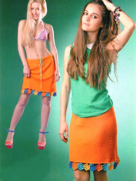 Оранжевая летняя юбка