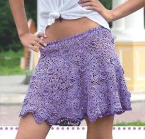 фото кружевная вязаная короткая юбка крючком