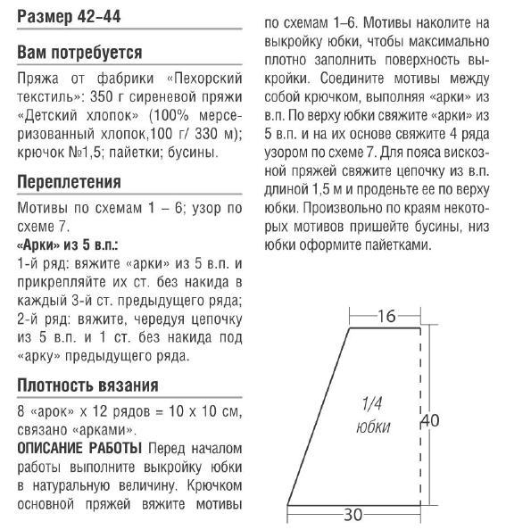 описание вязания кружевной мини юбки крючком