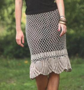 ажурная вязаная юбка крючком с ананасовым узором