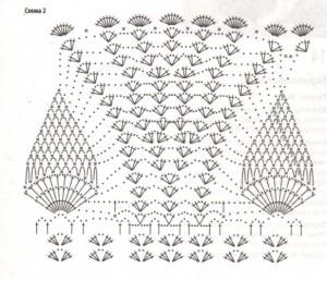 схема вязания ажурного узора с ананасами крючком