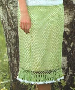 летняя вязаная юбка крючком из сетчатого ажурного узора фото