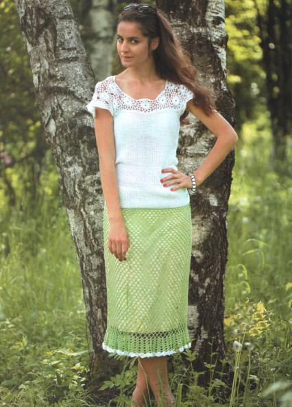 зеленая юбка, связанная сеткой, крючок