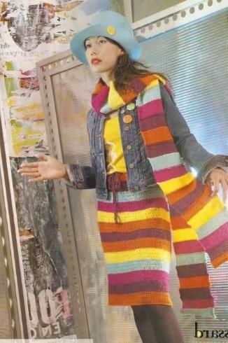 вязаная юбка в полоску крючком и полосатый шарф спицами