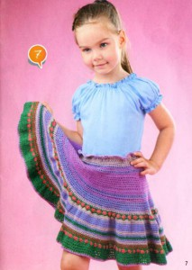 детская вязаная юбка клеш крючком на девочку 4 года