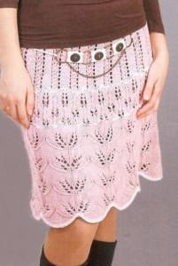 розовая ажурная вязаная юбка с узором из листьев