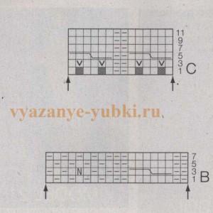 схемы вязания юбки спицами B и C