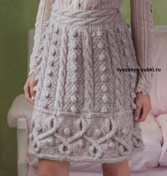 теплая вязаная юбка спицами с