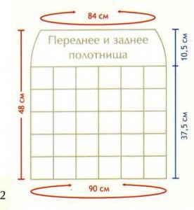выкройка для вязаной юбки крючком из квадратных мотивов