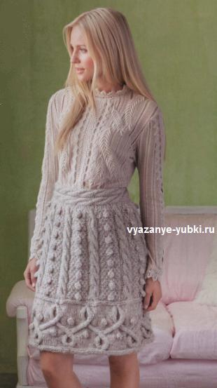 Красивая и теплая вязаная юбка