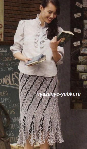 красивая ажурная вязаная юбка крючком со спиральным узором