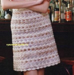 вязаная юбка крючком с узором из ракушек А-силуэта