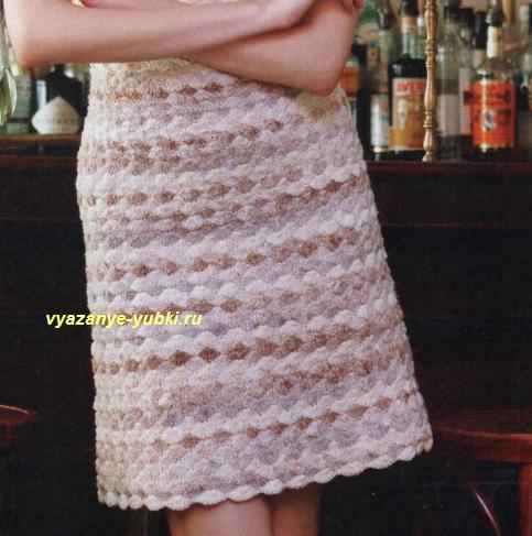 Узор ракушки крючком юбка
