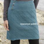короткая выше колена вязаная юбка со спиральным узором крючком фото