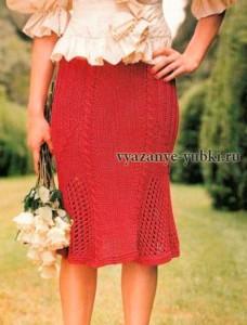 красная вязаная юбка годе спицами