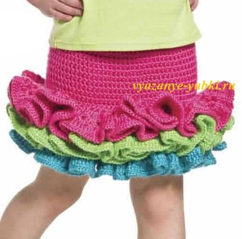 вязаная юбка для девочки крючком с воланами описание вязания