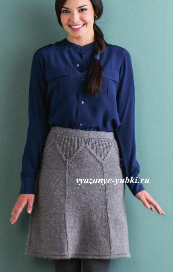 теплая вязаная юбка спицами с фигурной кокеткой