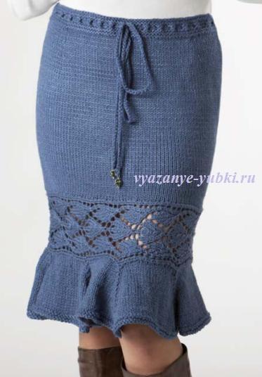 вязаная спицами юбка фасона годе