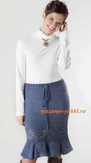 красивая юбка спицами годе с ажурной вставкой
