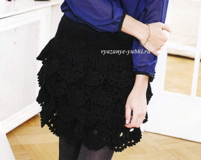 вечерняя вязная юбка
