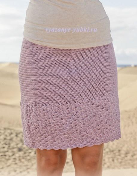 летняя вязаная юбка крючком из хлопка и вискозы