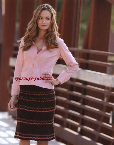 вязаная юбка спицами с имитацией складок