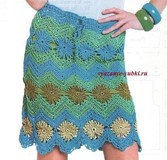 летняя вязаная юбка крючком с зигзагами и цветами