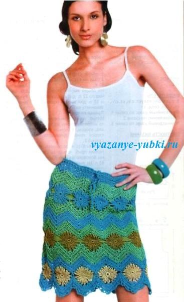 летняя вязаная юбка крючком с зигзагообразным узором