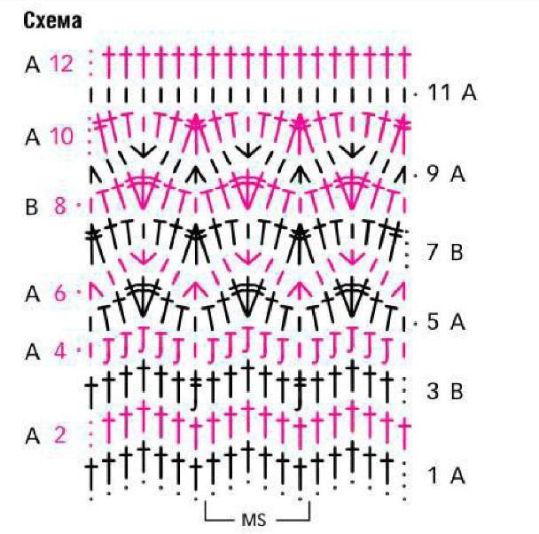 схема вязания узора из зигзагов крючков