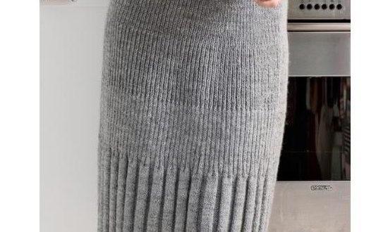вязаная юбка карандаш спицами в резинк
