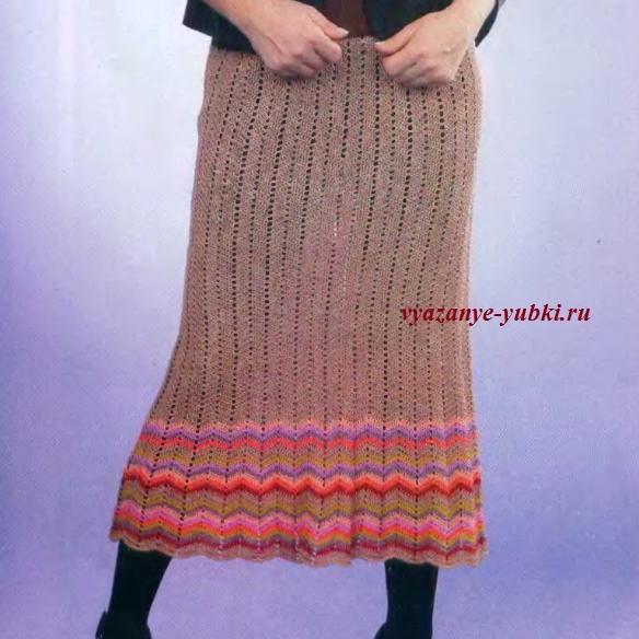 длинная вязаная юбка крючком с зигзагами