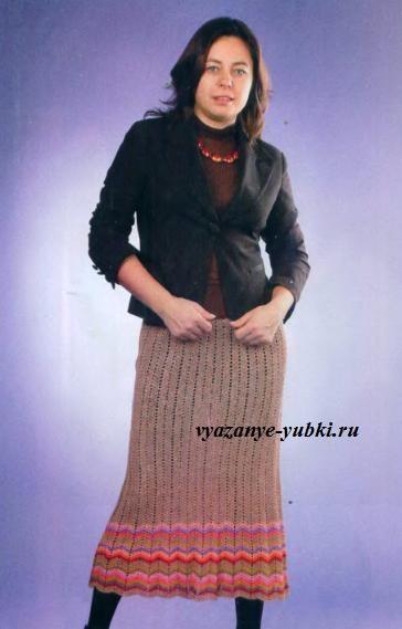 юбка крючком с зигзагами по нижнему краю
